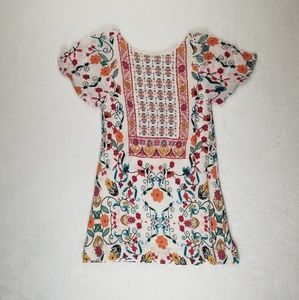 Zara Linen Floral Dress Girl Size 6